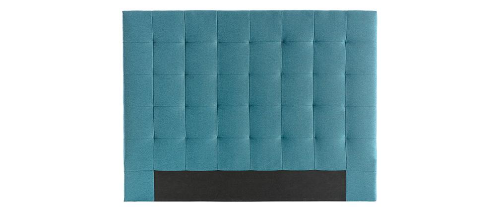 Tête de lit capitonnée en tissu bleu canard 160 cm HALCIONA