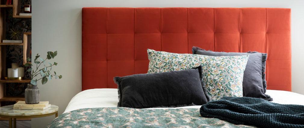 Tête de lit capitonnée velours terracotta 160 cm HALCIONA